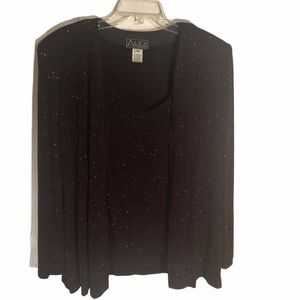 Alex Evenings shimmery wine  cardigan and tank top